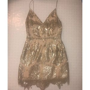 Gorgeous lace champagne gold dress!